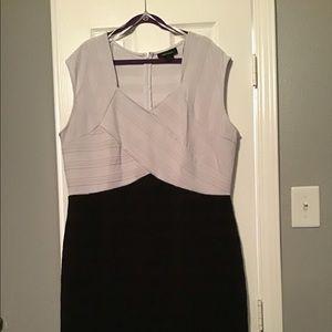 Ashley Stewart white top, black bottom dress